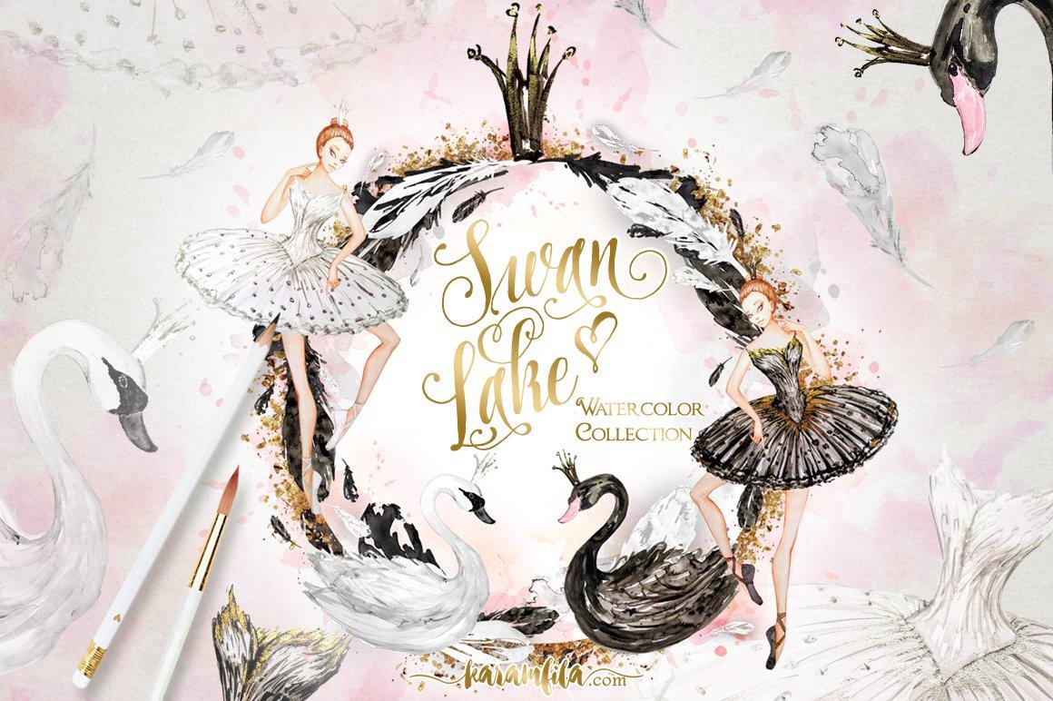 Swan Lake Clipart Watercolor Swan...