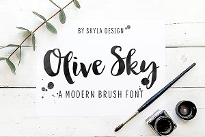 Modern brush font, Olive Sky