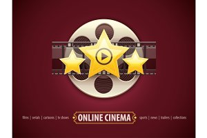 Online cinema icon logo concept with film