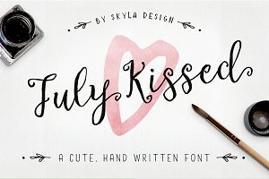 Cute handwritten font, July Kissed
