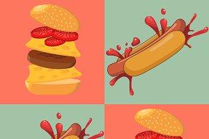 Hot dog and burgers
