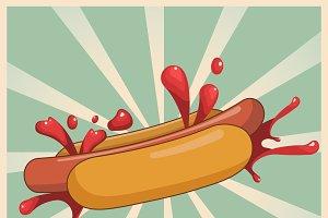 Vintage hot dog poster