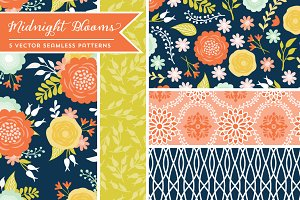 Vector Midnight Blooms Patterns