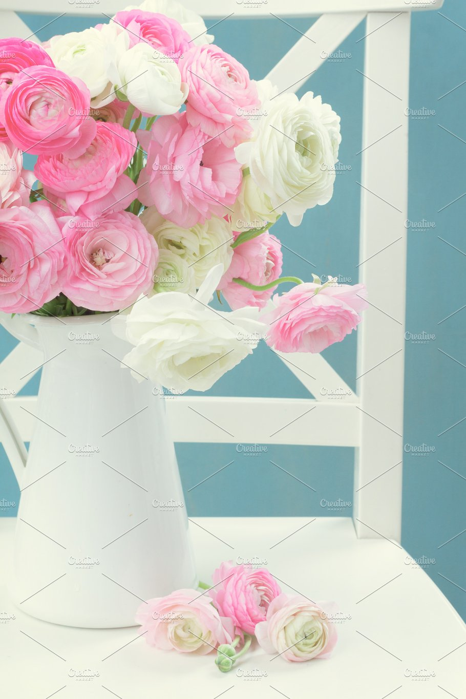Pink And White Ranunculus Flowers Nature Photos Creative Market Pro