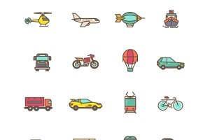 Transportation flat linear icons
