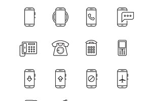 Phone, telephone, smartphone icons