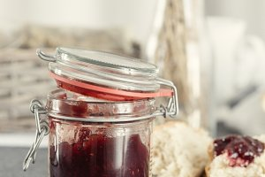 Strawberry marmalade jar