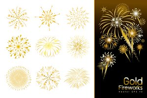 Set of gold fireworks design