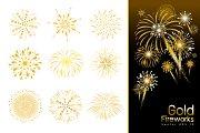 Set of gold fireworks design