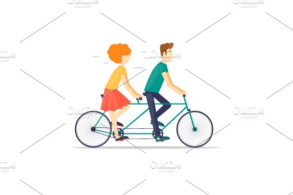 Couple riding tandem bicycle.