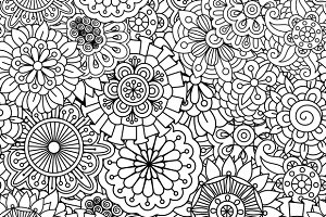 Seamless round floral pattern
