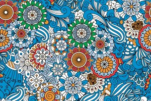 Blue floral seamless patterns