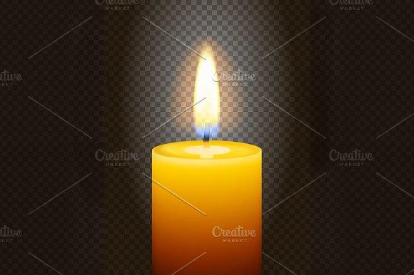 Realistic burning candle