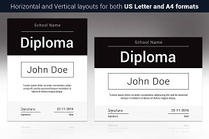 Black and White Diploma Template