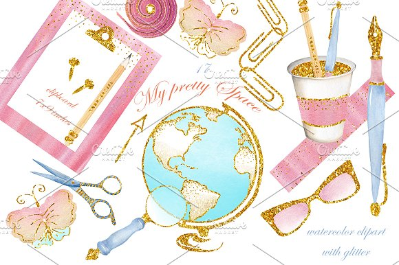 Stationary watercolor images, office in Illustrations