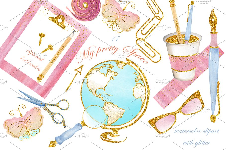 Stationary watercolor images, office in Illustrations - product preview 8