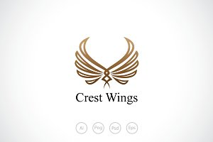 Wings Crest Logo Template