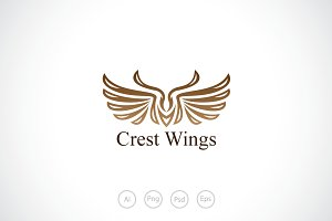 Butterfly Wings Crest Logo Template