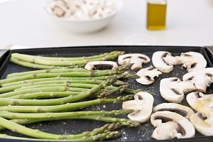 Cooked asparagus grilled