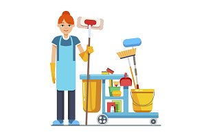 Professional cleaner woman