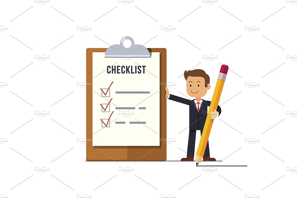 business man with marked checklist ~ illustrations ~ creative market