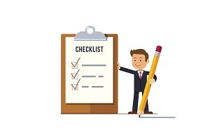 business man with marked checklist