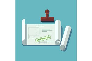 Building plan approved stamp