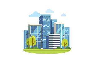 Minimalist city downtown landscape