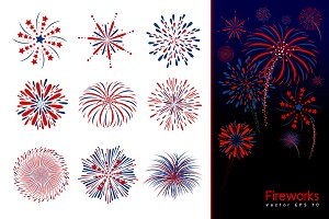 Set of fireworks design