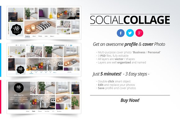 Social collage profile cover web elements creative market social collage profile cover web elements maxwellsz