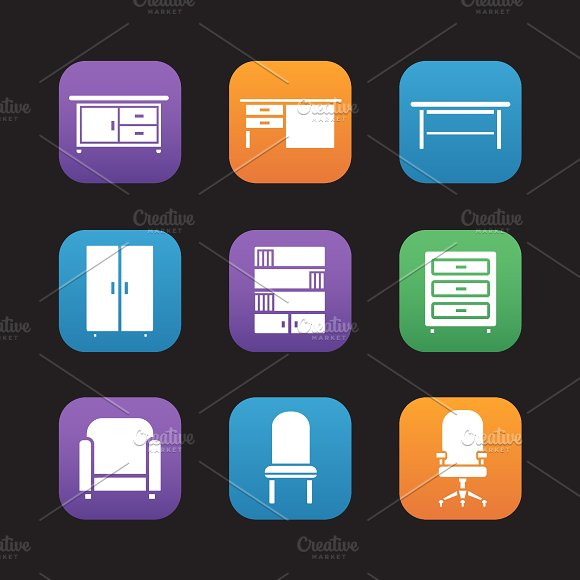 Furniture items. 9 icons. Vector - Icons