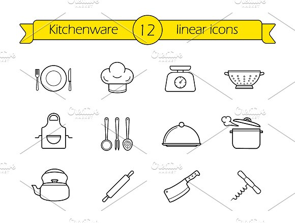 Kitchenware. 9 icons. Vector - Icons