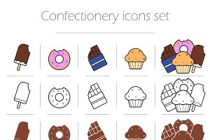 Confectionery. 15 icons. Vector