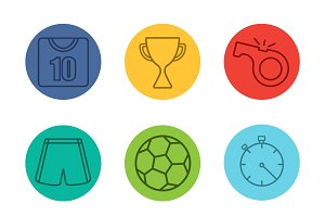 Soccer equipment. 9 icons. Vector