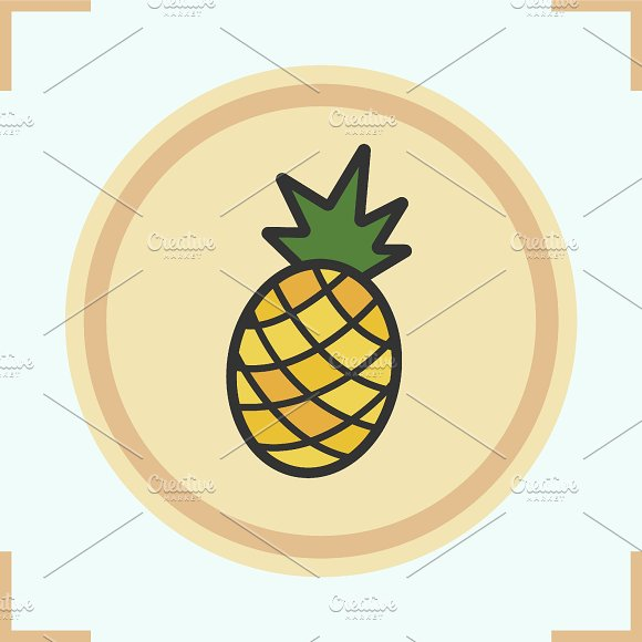 Pineapple color icon. Vector - Icons