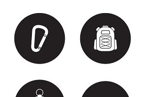Hiking equipment. 4 icons. Vector
