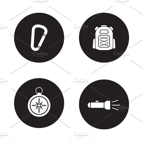 Hiking equipment. 4 icons. Vector - Icons