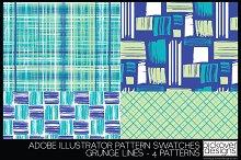 4 Grunge Line Pattern Swatches