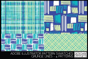 4 Grunge Line Pattern Swatches