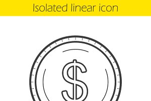 Dollar coin linear icon. Vector