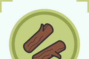 Firewood color icon. Vector