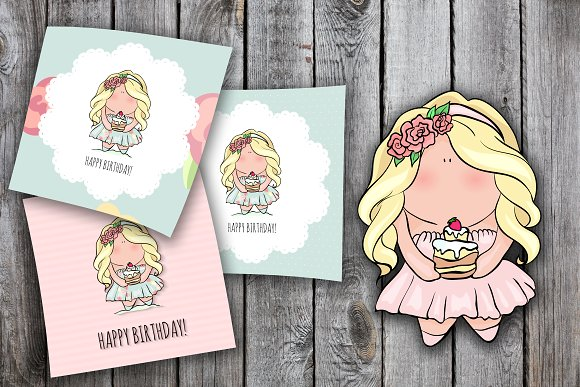 3 Happy Birthday Cards For Girl Illustrations Creative Market