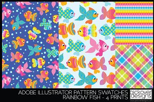 4 Rainbow Fish Print Swatches