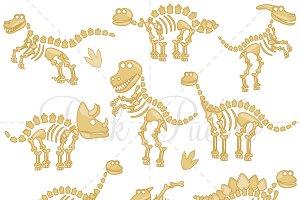 Dinosaur Fossils or Bones Clipart