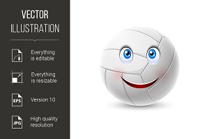 Volleyball ball cartoon character