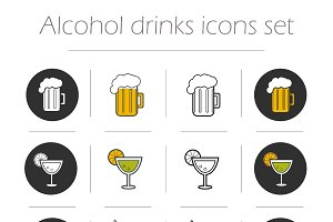 Alcoholic drinks. 12 icons. Vector