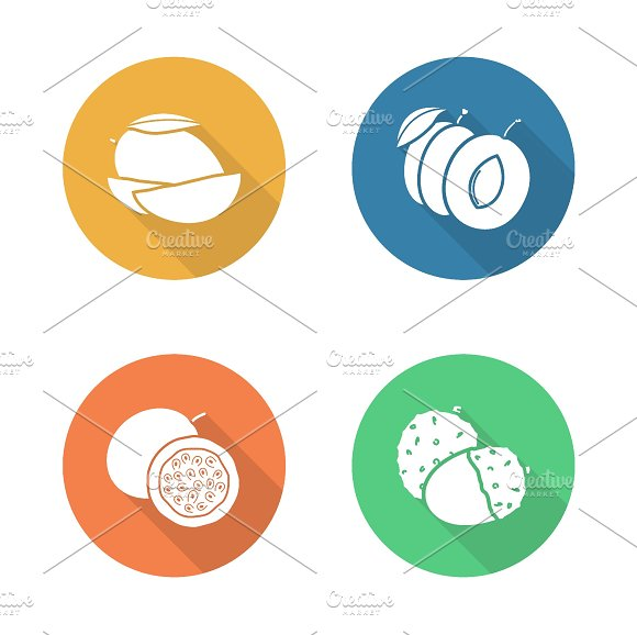 Fruits. 4 icons. Vector - Icons