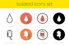 Blood donation. 12 icons. Vector