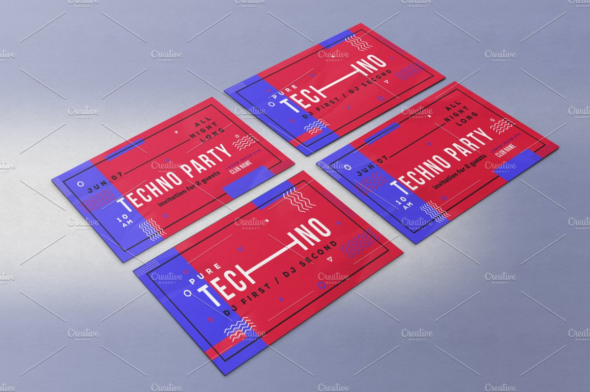Techno party invitation template ~ Flyer Templates ~ Creative Market