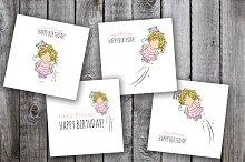 cute happy birthday cards set